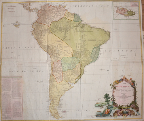 Anville´d Jean Babtiste A Map of South America Containing Tierra-Firma, Guayana, New Granada, Amazonia, Brasil, Peru, Paraguay, Chaco, Tucuman, Chili and Patagonia.