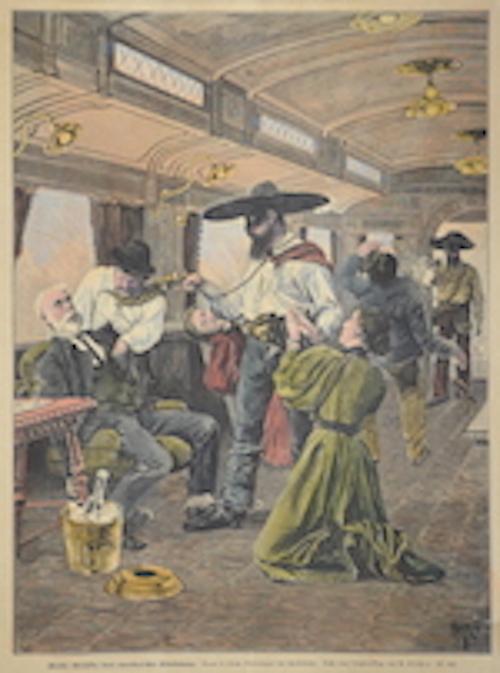 Räuber überfallen einen amerikanischen Eisenbahnzug.