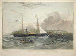 "This View of H. M. Steam Frigate ""Geyser"", when off Mt. Edgecombe, Is with his permission, dedicated to Sir John Barrow. Bart. Secretary of the.."