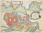 Plan of St. Petersburg with it´s Fortifications built by Peter the Great in 1703/ The harbour of Crownslot, River Neva