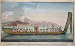 Representation of a war canoe of New Zealand, with a view of gable and foreland